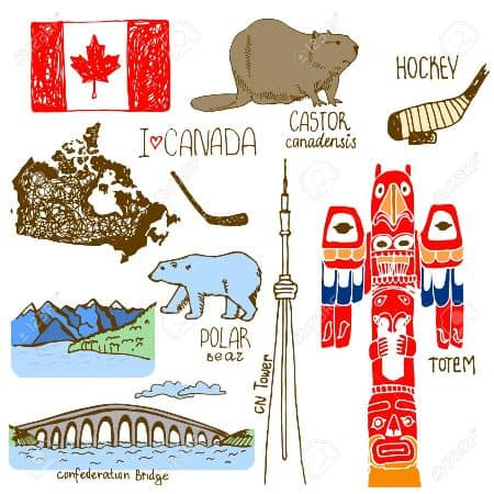 Hand drawn symbols of Canada.